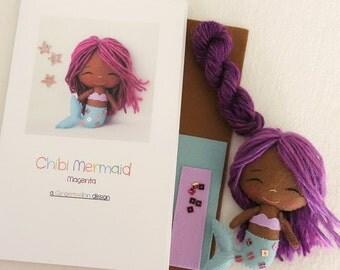 Magenta - Chibi Mermaid Pattern Kit