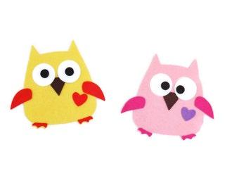Felt Die Cut Owls 4 sets- 44 pieces