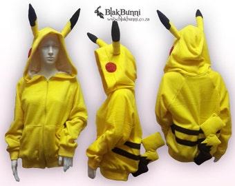 MADE TO ORDER Pikachu pokemon hoodie with detachable tail kawaii cute