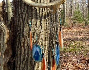 Geode Wind Chime on White Tailed Deer Antler.     #63