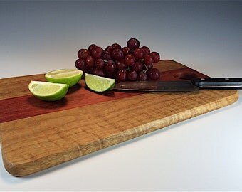 Curly Oak and Bloodwood Cutting/Serving Board