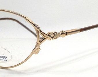 vintage 90s deadstock eyeglasses frames eye glasses gold metal eyewear optical unisex oval cat eye attitude brown marble plastic classic 116