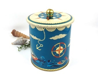 vintage 60s blue nautical tin storage container litho colorful bright can canister home decor decorative slk shimmer anchor fish sailboat