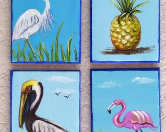 Tropical Magnets Hand Painted Miniature Art Pelican, Flamingo, White Heron, Pineapple