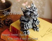 Yverness The Gargoyle Sentinel - Guardian of the Lands of Shelf and Mantel - Handcrafted Clay Gargoyle - Terrarium Sculpture