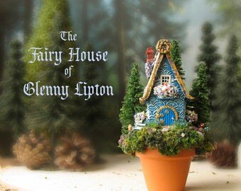 Glenny Lipton's House - Potted Fairy House - Miniature Blue Woodland House with Textured Roof, Pine Trees, Wildflowers, Bench, Window Boxes