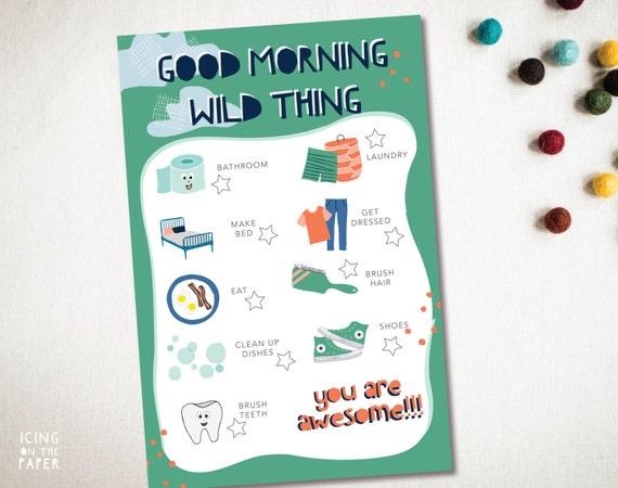 Version II - boy get ready morning chore chart checklist