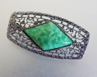 Vintage 1930's Art Deco Rhodium Plated Green Peking Glass Brooch