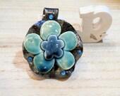 blue flower pendant -  vintage boho romantic - poppy in the sky hig fired jewel