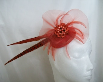 Ready Made Orange & Black Pheasant Feather and Crinoline Stunning Fascinator Mini Hat Headpiece Wedding Races Derby