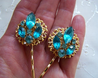 Vintage Turquoise Aqua Rhinestone Hair Pins Bobby Pins Bridesmaid Wedding Prom Art Deco Gold Doodaba