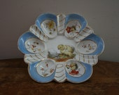 Adorable Vintage Deviled Egg Tiny Chick Plate Marked T K 34 China Plate German or Czechoslovakian