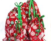 Holiday / Christmas Gift Bags - Drawstrings with Jingle Bells - Eco-Friendly & Reusable