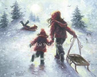 Three Sisters Sledding Original Oil Painting 12X12 three girls wall art, burgundy, winter, snow play, sledding, Vickie Wade Art