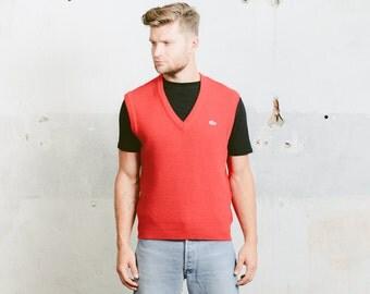 Vintage 90s Mens LACOSTE Knit Vest . 1990s Patterned Red V-neck Preppy Hipster Nerd Sleeveless Sweater . size Medium