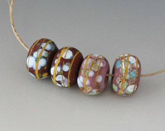 Rustic Sedona Nuggets- (4) Handmade Lampwork Beads -  Red Brown, Lavender