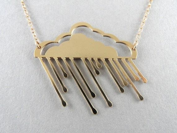 gold cloud, rainy cloud necklace, cloud necklace, rain cloud, hollow