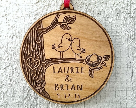 Personalized BABY Love Bird Nest Egg Ornament Expecting Born