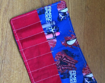Crayon Roll up spiderman more crayon rolls in my shop