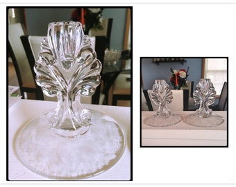 Vintage Etched Glass Candle Holders, by New Martinsville Glass Co., Prelude Pattern, 1940's