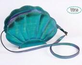 iridescent aqua green faux leather mermaid sea shell bag