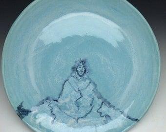 Sky blue pottery platter mountain meditation painting plate, yoga serving art