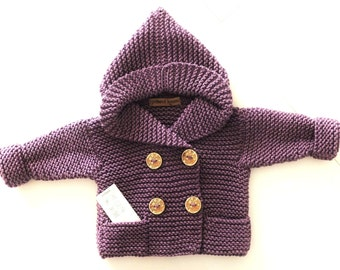 Baby Hooded Coat Pea Coat in Violet Antique Fuchsia Dark Lavender sweater 6-9month Antiallergic SAMPLE SALE