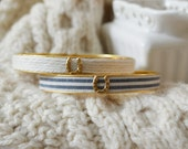 Women's Preppy Equestrian Bangle Bracelet - Cream Cashmere & Fabric Navy Stripes