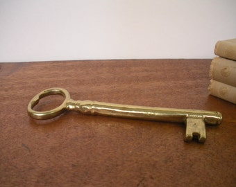 Vintage Key Paper Weight   Brass Key Wall Hanging