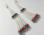 Traditional style dentalium earrings, museum reproduction indian tusk shell old native american style, cobalt blue, red, turquoise glass