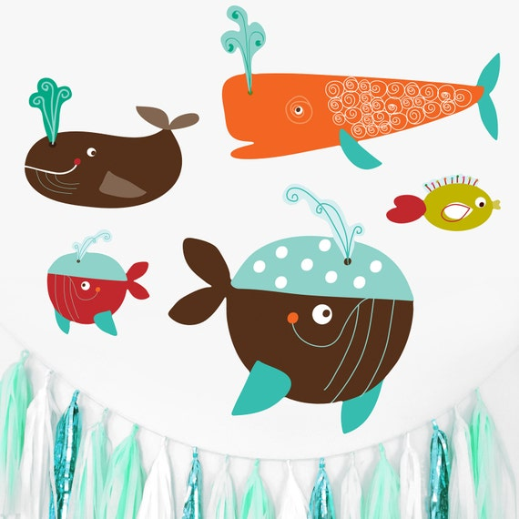 Fabric Wall Decals Whales Fish Fabric Wall Stickers, Mini