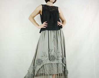Funky Boho Gpysy Hippie Floral Applique Dusty Olive Taupe Double Layer Light Cotton skirt Size 8 To Size 22