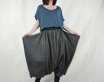 Funky Harem Boho Drop Crotch Dark Charcoal Cotton Jersey Pants With Wide Flap Side And Black Waist
