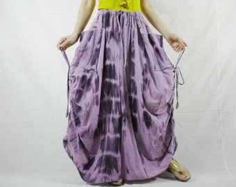 PLUS SIZE Love Me Love Me Not - Steampunk Tie Dye Plum Cotton Skirt With Side Adjustable String /2 Roomy Pockets Size8- 4X