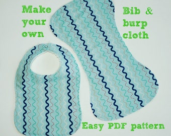 Baby sewing pattern, Infant patterns, Shoulder Burp Cloth and Bib Pattern, Baby bib pattern, Baby pattern, Bib and Burp Cloth pattern (S116)