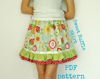 Ruffle skirt pattern (S110), Skirt sewing pattern, Girls skirt pattern, Toddler skirt pattern, easy sewing pattern, Twirl skirt pattern