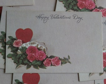 10 Happy Valentine's Day Vintage Florist Insert Cards, Tiny Tags for Crafting and Use