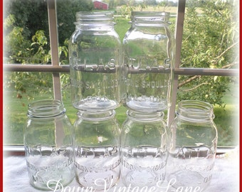 6 Clear Vintage ATLAS Strong Shoulder Mason Jars Quart Size Vintage Jars