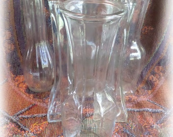 6 Clear Glass Bud Vases Collection of 6 Vintage for Weddings, Parties, Receptions, Florist Vases, DISCOUNT Available