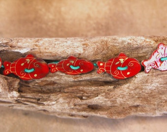 Red Fish Bracelet Adorable Enamel Fish Buttons Orange-Red w Yellow Details Hand Painted Cuties on Turquoise Leather Cord Ocean Jewelry