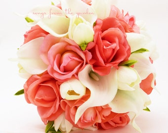 Coral and White Callas Tulips Roses Bridal Bouquet - Real Touch Roses Tulips Calla Lilies