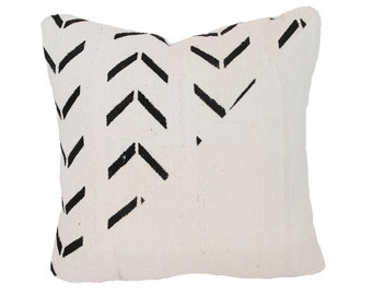 White/Natural & Black Vintage African Mudcloth Pillow
