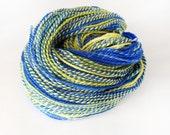 Blue and Yellow Superwash Merino and Nylon Handspun Yarn for Knitting