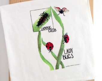 Ladybug Kitchen Towel, Watercolor Painting Dish Cloth