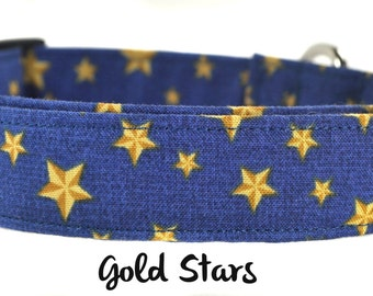 Blue and Gold Star Dog Collar - The Gold Stars