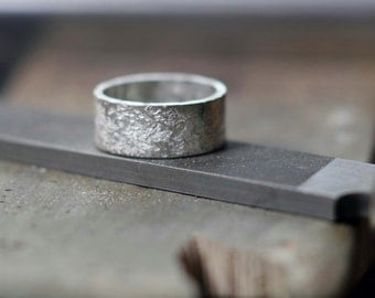 Granite silver ring unisex band ring textured sterling silver ring rough texture oxidized brushed