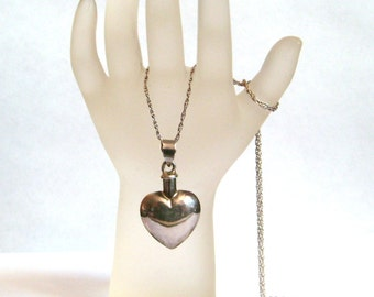Sterling Silver Puffy Heart Perfume Bottle Pendant Necklace