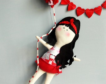 VALENTINE'S DAY Doll + coupon gift 20% Off / Child friendly OOAK Doll - Handmade in Italy