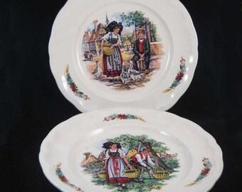 K G France Luneville Dinner Plates Village Scenes(2)