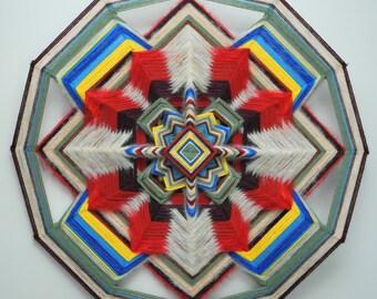 Fiery Free Life, a 24 inch, wool yarn, Ojo de Dios, In Stock, ready to ship